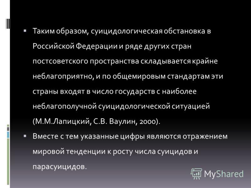 Таким образом, суицидологическая обстановка в Российской Федерации и ряде других стран постсоветского пространства складывается крайне неблагоприятно, и по общемировым стандартам эти страны входят в число государств с наиболее неблагополучной суицидо