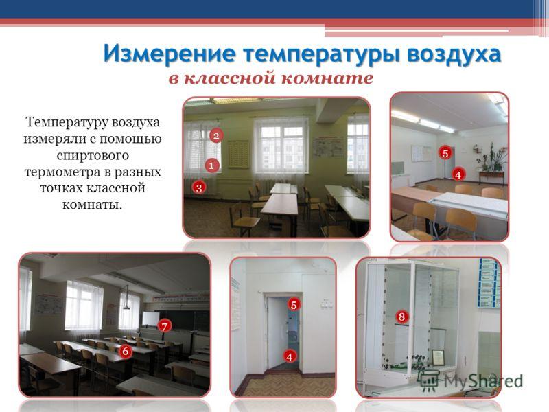 Измерение температуры воздуха в классной комнате Температуру воздуха измеряли с помощью спиртового термометра в разных точках классной комнаты. 1 2 3 4 5 4 5 6 7 8