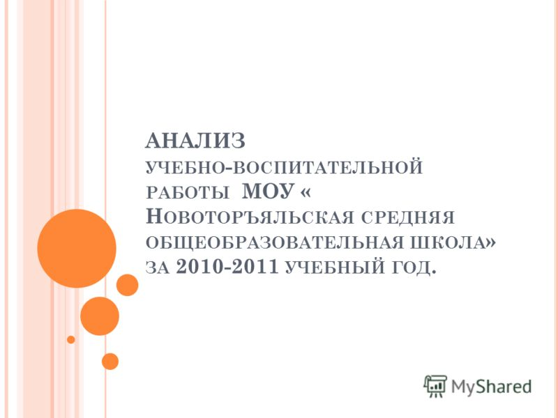 АНАЛИЗ УЧЕБНО - ВОСПИТАТЕЛЬНОЙ РАБОТЫ МОУ « Н ОВОТОРЪЯЛЬСКАЯ СРЕДНЯЯ ОБЩЕОБРАЗОВАТЕЛЬНАЯ ШКОЛА » ЗА 2010-2011 УЧЕБНЫЙ ГОД.