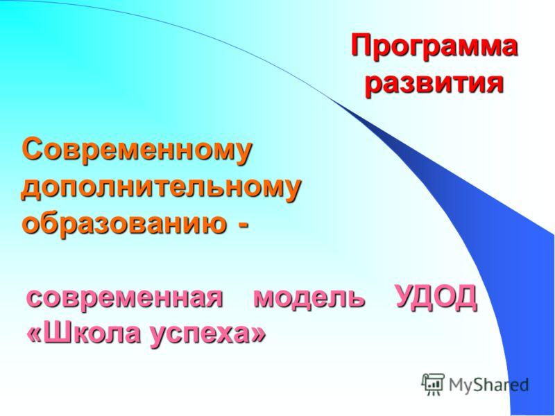 Современному дополнительному образованию - современная модель УДОД «Школа успеха» Программа развития