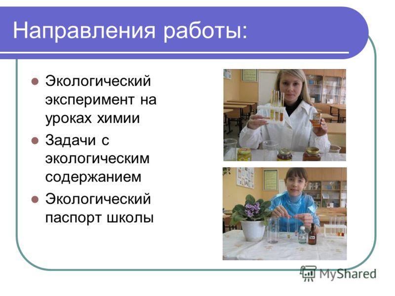 Направления работы: Экологический эксперимент на уроках химии Задачи с экологическим содержанием Экологический паспорт школы
