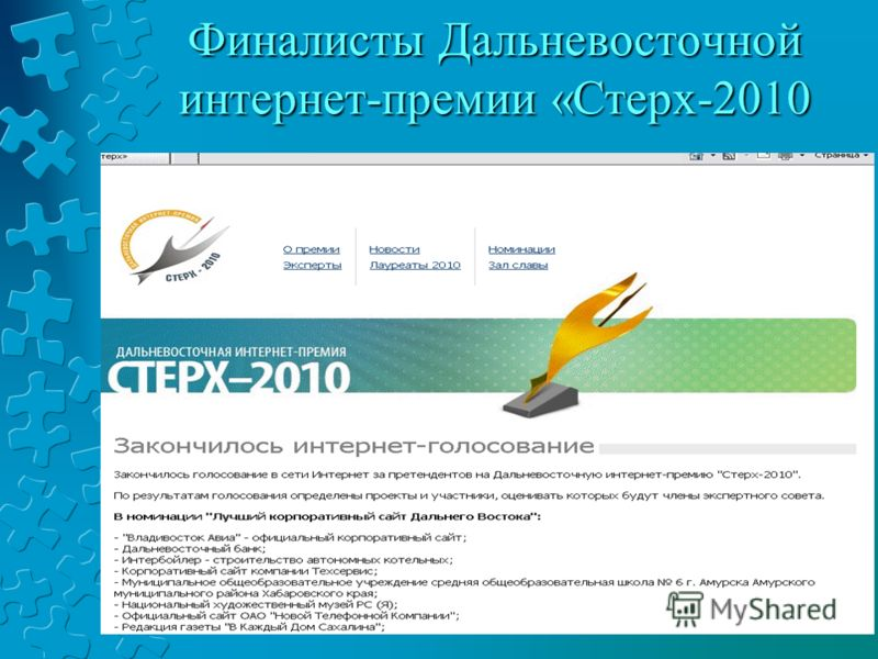 Финалисты Дальневосточной интернет-премии «Стерх-2010