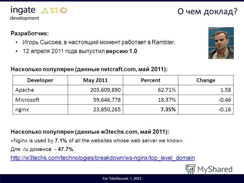 For TulaDev.net \ 2011 О чем доклад? Разработчик: Игорь Сысоев, в настоящий момент работает в Rambler. 12 апреля 2011 года выпустил версию 1.0 Насколько популярен (данные netcraft.com, май 2011): Насколько популярен (данные w3techs.com, май 2011): «N