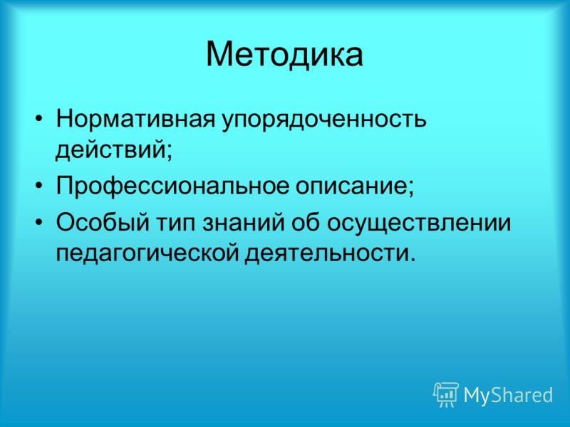 Методика Нормативная упорядоченность действий; Профессиональное описание; Особый тип знаний об осуществлении педагогической деятельности.