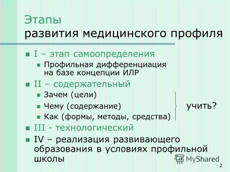 2 Этапы развития медицинского профиля I – этап самоопределения Профильная дифференциация на базе концепции ИЛР II – содержательный Зачем (цели) Чему (содержание) учить? Как (формы, методы, средства) III - технологический IV – реализация развивающего