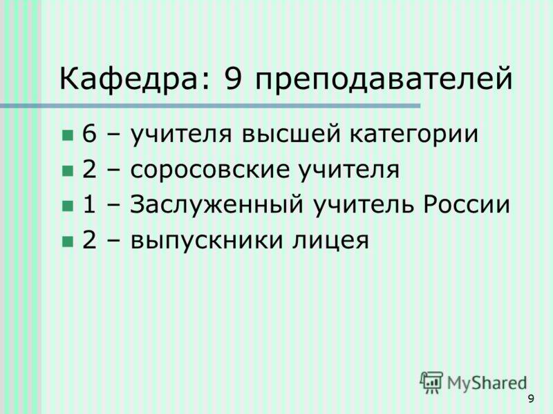 9 Кафедра: 9 преподавателей 6 – учителя высшей категории 2 – соросовские учителя 1 – Заслуженный учитель России 2 – выпускники лицея