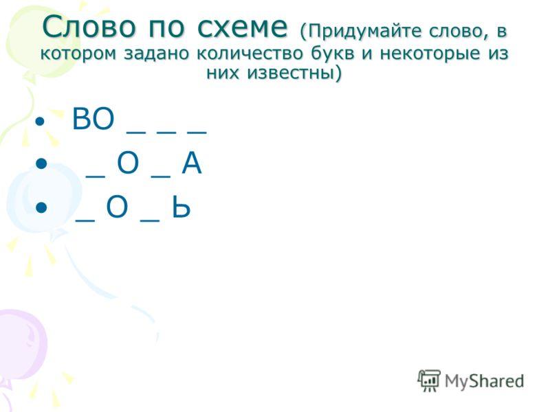 Слово по схеме (Придумайте слово, в котором задано количество букв и некоторые из них известны) ВО _ _ _ _ О _ А _ О _ Ь