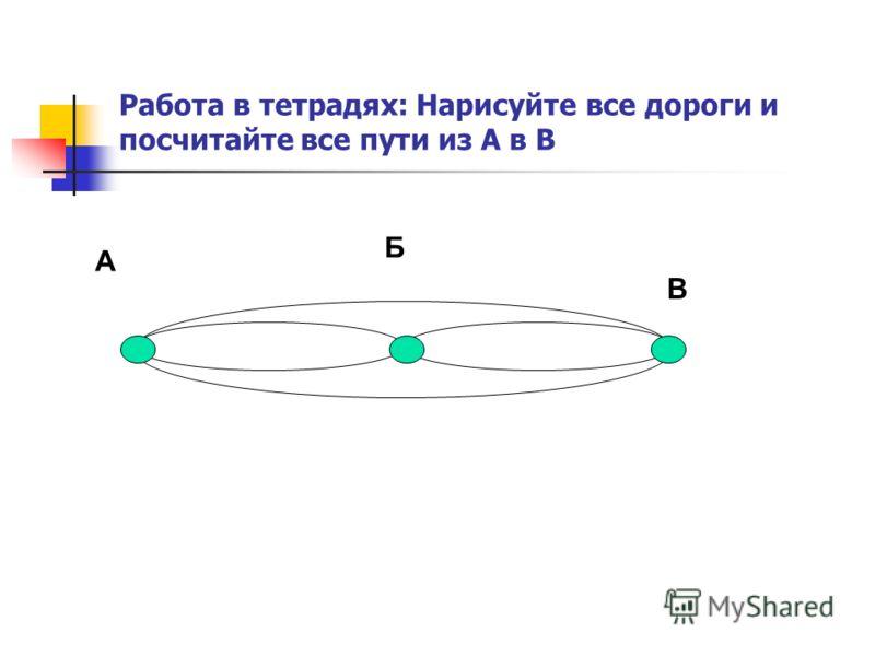 Работа в тетрадях: Нарисуйте все дороги и посчитайте все пути из А в В А В Б
