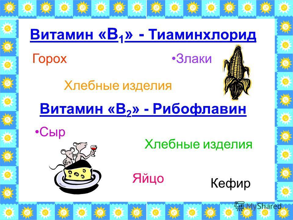 Витамин «В 1 » - Тиаминхлорид Хлебные изделия ГорохЗлаки Витамин «В 2 » - Рибофлавин Кефир Хлебные изделия Сыр Яйцо