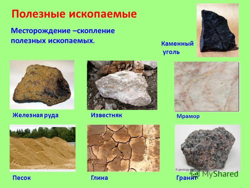 Полезные ископаемые Каменный уголь Гранит Глина Железная руда Песок Известняк Мрамор Месторождение –скопление полезных ископаемых.