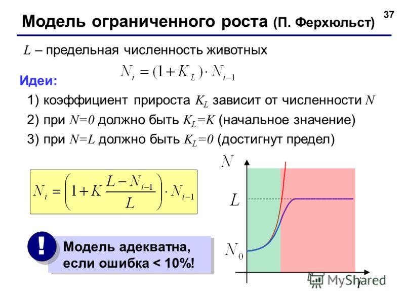 37 Модель ограниченного роста (П. Ферхюльст) L – предельная численность животных Идеи: 1)коэффициент прироста K L зависит от численности N 2)при N=0 должно быть K L =K (начальное значение) 3)при N=L должно быть K L =0 (достигнут предел) Модель адеква