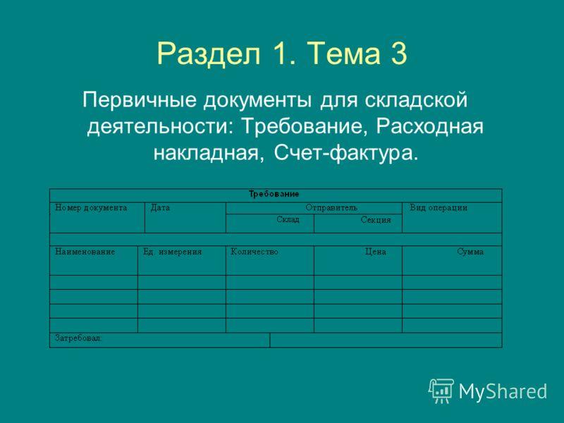 Раздел 1. Тема 3 Первичные документы для складской деятельности: Требование, Расходная накладная, Счет-фактура.