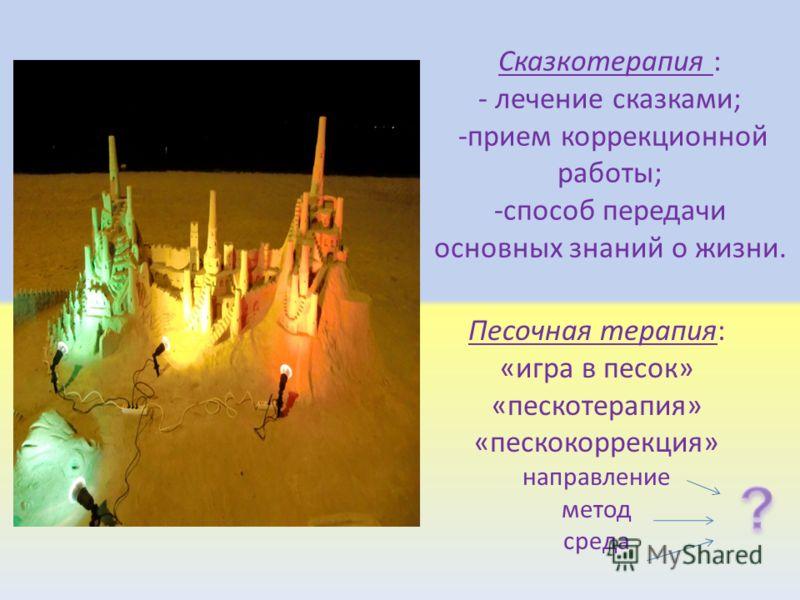 Сказкотерапия : - лечение сказками; -прием коррекционной работы; -способ передачи основных знаний о жизни. Песочная терапия: «игра в песок» «пескотерапия» «пескокоррекция» направление метод среда