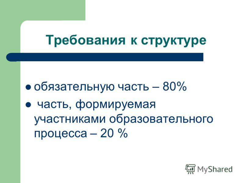Требования к структуре обязательную часть – 80% часть, формируемая участниками образовательного процесса – 20 %