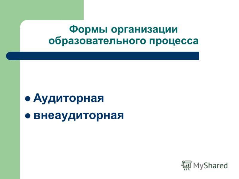Формы организации образовательного процесса Аудиторная внеаудиторная