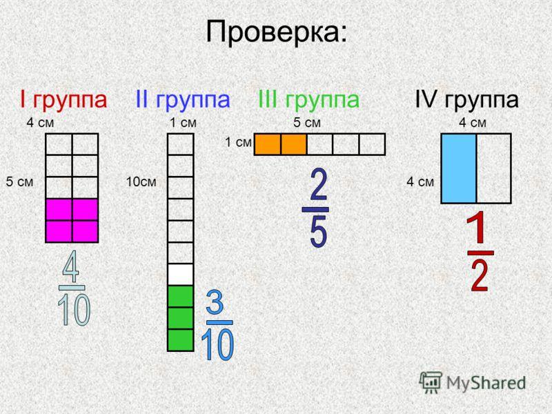 Проверка: I группа II группа III группа IV группа 4 см 1 см 5 см 4 см 1 см 5 см 10см 4 см
