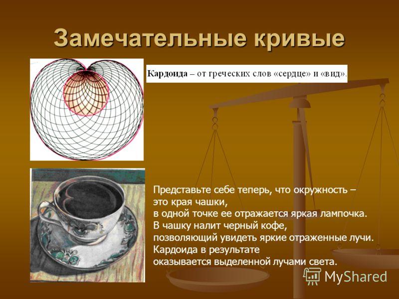 Замечательные кривые Представьте себе теперь, что окружность – это края чашки, в одной точке ее отражается яркая лампочка. В чашку налит черный кофе, позволяющий увидеть яркие отраженные лучи. Кардоида в результате оказывается выделенной лучами света