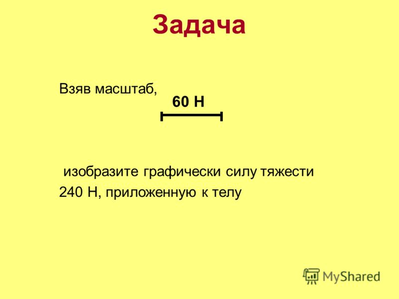 Задача Взяв масштаб, изобразите графически силу тяжести 240 Н, приложенную к телу 60 Н