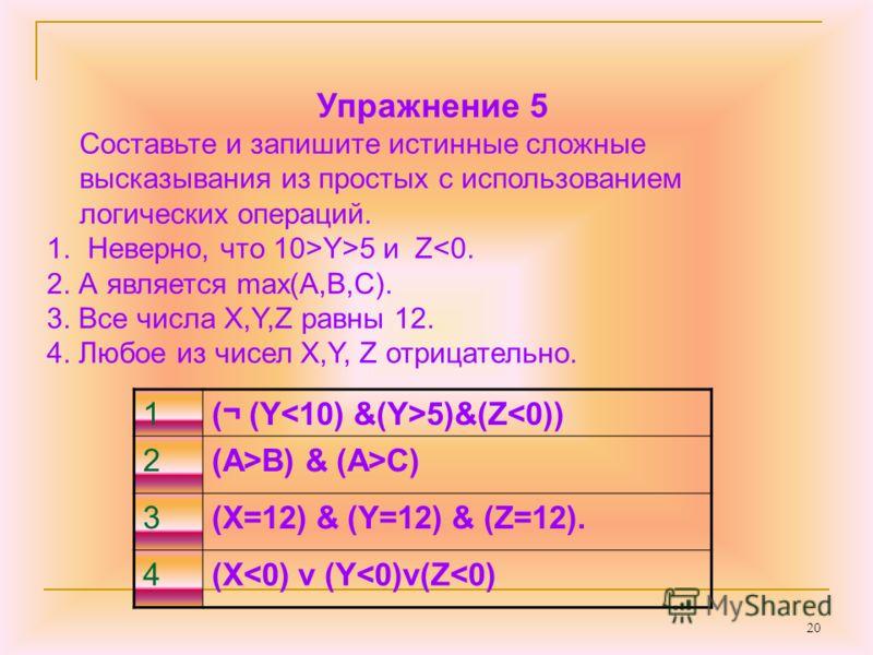 20 Упражнение 5 Составьте и запишите истинные сложные высказывания из простых с использованием логических операций. 1. Неверно, что 10>Y>5 и ZC) 3(X=12) & (Y=12) & (Z=12). 4(X