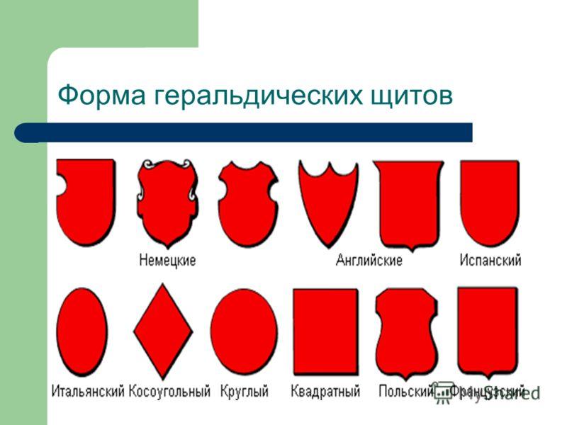 Форма геральдических щитов