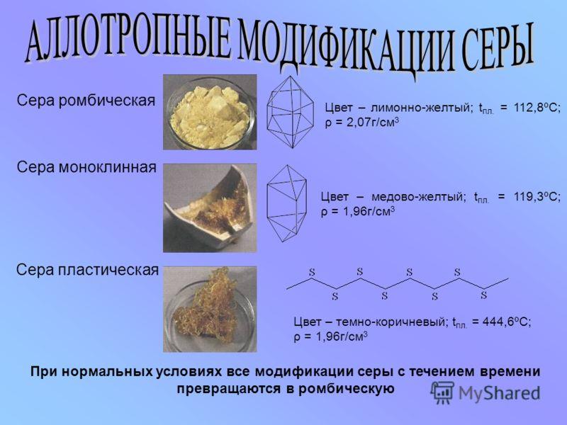 Сера ромбическая Сера пластическая Сера моноклинная Цвет – лимонно-желтый; t пл. = 112,8ºС; ρ = 2,07г/см 3 Цвет – медово-желтый; t пл. = 119,3ºС; ρ = 1,96г/см 3 Цвет – темно-коричневый; t пл. = 444,6ºС; ρ = 1,96г/см 3 При нормальных условиях все моди
