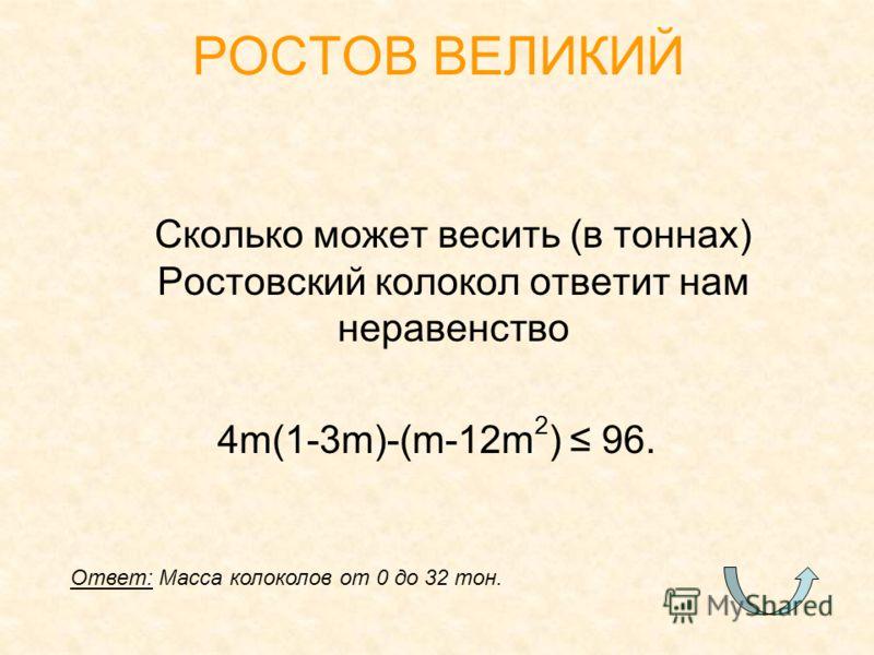 Сколько может весить (в тоннах) Ростовский колокол ответит нам неравенство 4m(1-3m)-(m-12m 2 ) 96. РОСТОВ ВЕЛИКИЙ Ответ: Масса колоколов от 0 до 32 тон.