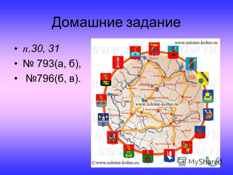 Домашние задание п.30, 31 793(а, б), 796(б, в).