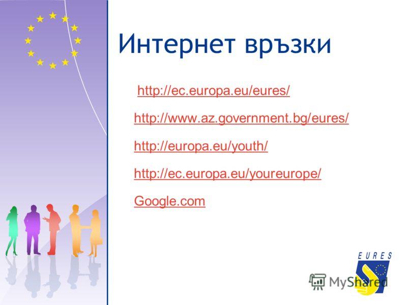 Интернет връзки http://ec.europa.eu/eures/ http://www.az.government.bg/eures/ http://europa.eu/youth/ http://ec.europa.eu/youreurope/ Google.com