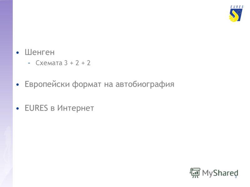 3 Шенген –Схемата 3 + 2 + 2 Европейски формат на автобиография EURES в Интернет