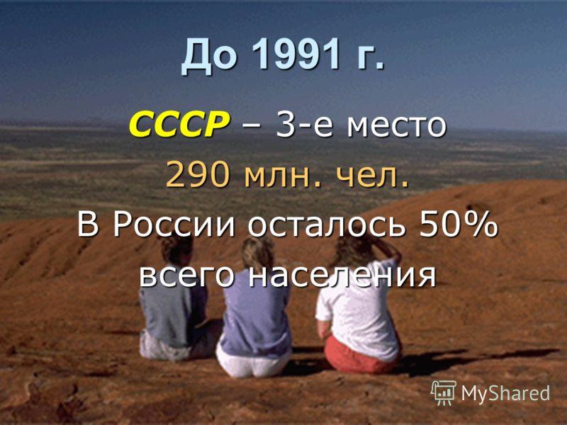 До 1991 г. СССР – 3-е место 290 млн. чел. В России осталось 50% всего населения