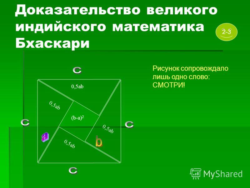 0,5ab Доказательство великого индийского математика Бхаскари 0,5ab (b-a) 2 0,5ab Рисунок сопровождало лишь одно слово: СМОТРИ! 2-3