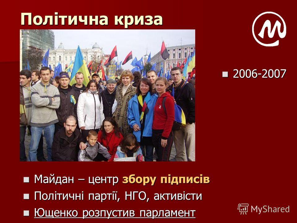 Політична криза Майдан – центр збору підписів Майдан – центр збору підписів Політичні партії, НГО, активісти Політичні партії, НГО, активісти Ющенко розпустив парламент Ющенко розпустив парламент 2006-2007 2006-2007