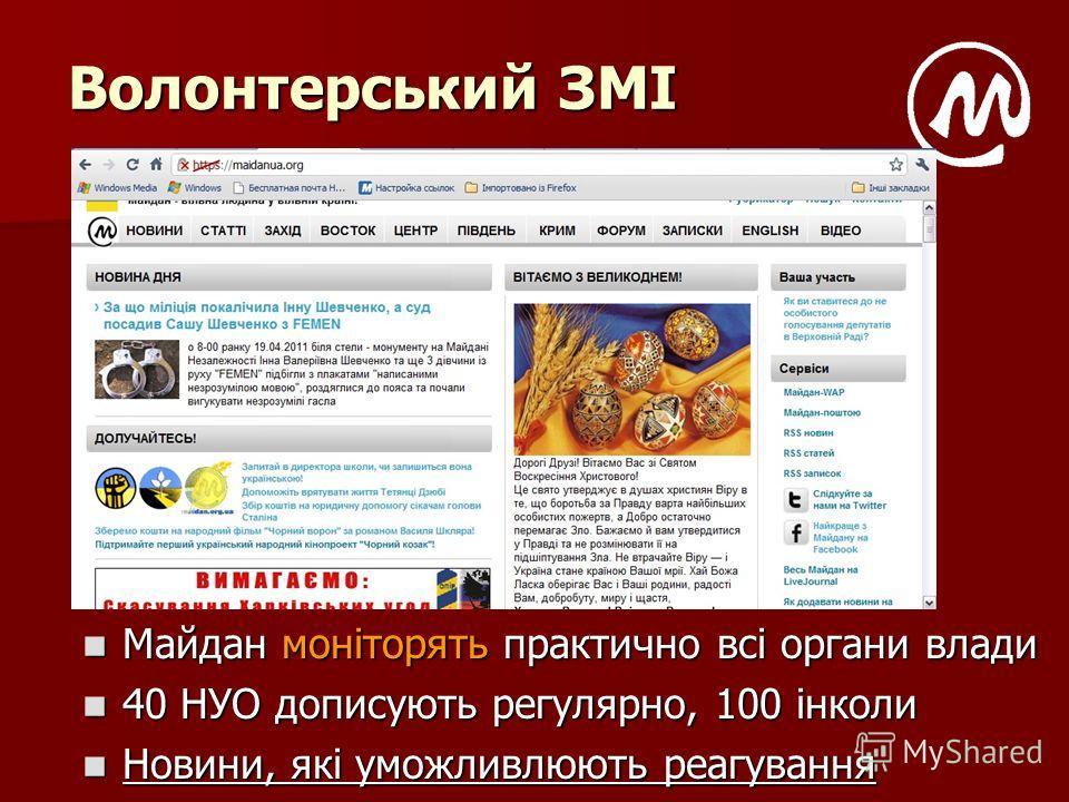 Волонтерський ЗМІ Майдан моніторять практично всі органи влади Майдан моніторять практично всі органи влади 40 НУО дописують регулярно, 100 інколи 40 НУО дописують регулярно, 100 інколи Новини, які уможливлюють реагування Новини, які уможливлюють реа