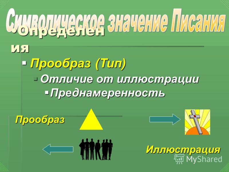 Определен ияОпределен ия Прообраз (Тип) Прообраз (Тип) Отличие от иллюстрации Отличие от иллюстрации Преднамеренность Преднамеренность Иллюстрация Прообраз