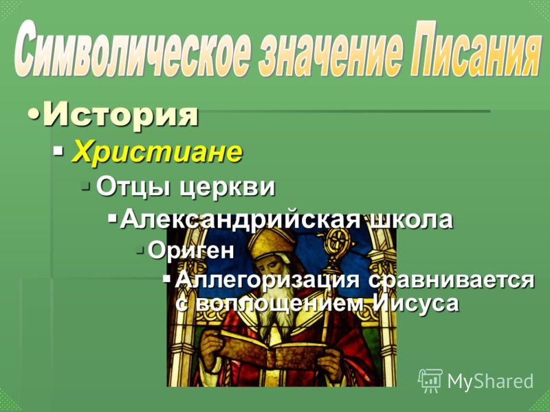 Христиане Христиане Отцы церкви Отцы церкви Александрийская школа Александрийская школа Ориген Ориген Аллегоризация сравнивается с воплощением Иисуса Аллегоризация сравнивается с воплощением Иисуса ИсторияИстория