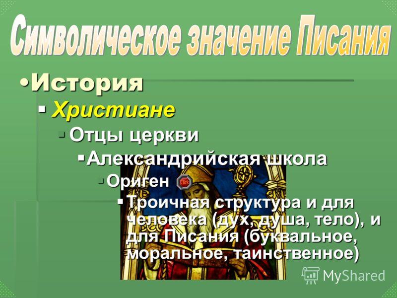 Христиане Христиане Отцы церкви Отцы церкви Александрийская школа Александрийская школа Ориген Ориген Троичная структура и для человека (дух, душа, тело), и для Писания (буквальное, моральное, таинственное) Троичная структура и для человека (дух, душ
