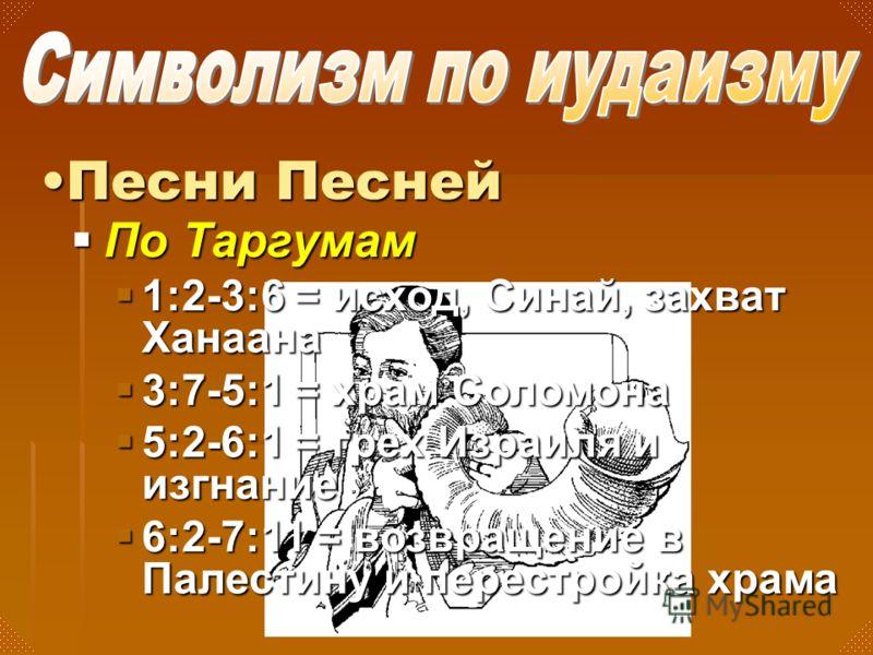 По Таргумам По Таргумам 1:2-3:6 = исход, Синай, захват Ханаана 1:2-3:6 = исход, Синай, захват Ханаана 3:7-5:1 = храм Соломона 3:7-5:1 = храм Соломона 5:2-6:1 = грех Израиля и изгнание 5:2-6:1 = грех Израиля и изгнание 6:2-7:11 = возвращение в Палести