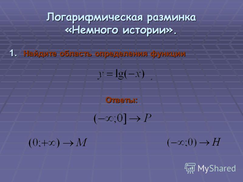 Логарифмическая разминка «Немного истории». 1. Найдите область определения функции.Ответы: