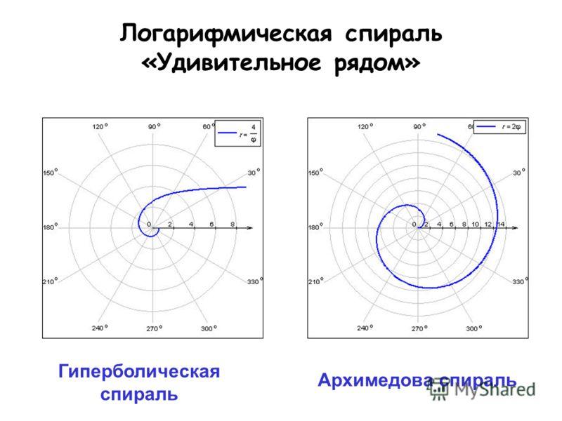Логарифмическая спираль «Удивительное рядом» Архимедова спираль Гиперболическая спираль