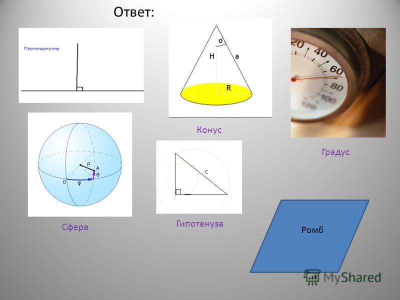 «ступень» «натянутая тетива» «отвесный» « сосновая шишка» « бубен» «мяч» Вопрос 2 :Переведите на русский слова, обозначающие математические термины.
