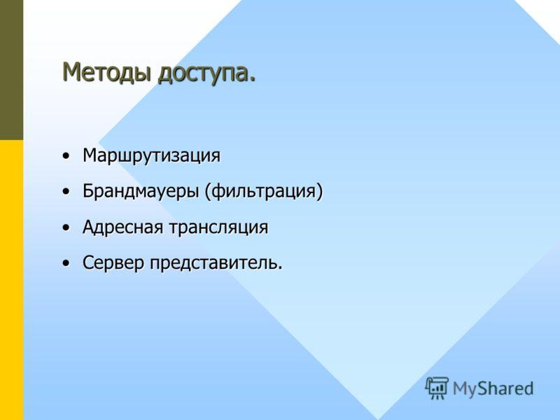 Методы доступа. МаршрутизацияМаршрутизация Брандмауеры (фильтрация)Брандмауеры (фильтрация) Адресная трансляцияАдресная трансляция Сервер представитель.Сервер представитель.