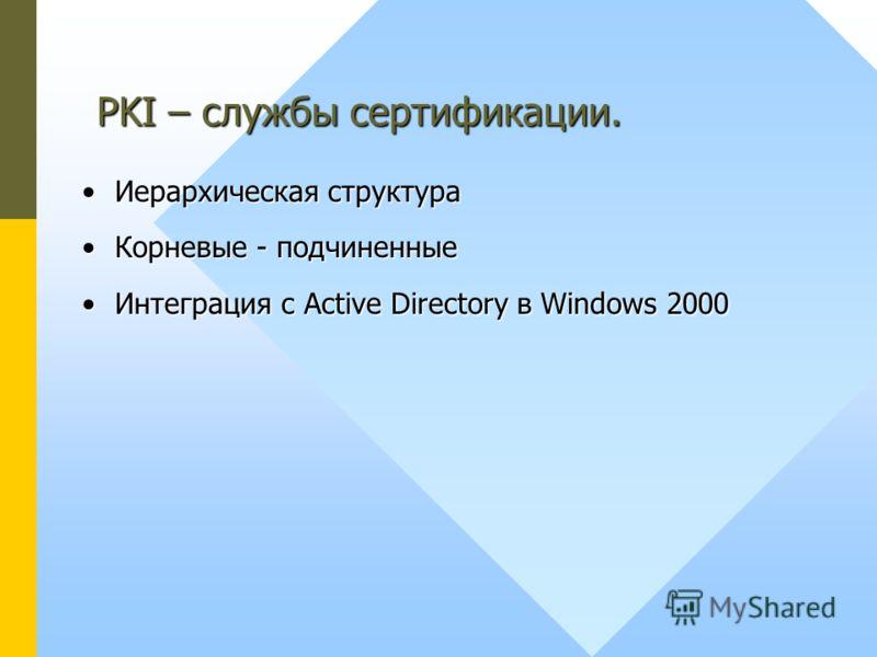 Иерархическая структураИерархическая структура Корневые - подчиненныеКорневые - подчиненные Интеграция с Active Directory в Windows 2000Интеграция с Active Directory в Windows 2000 PKI – службы сертификации.