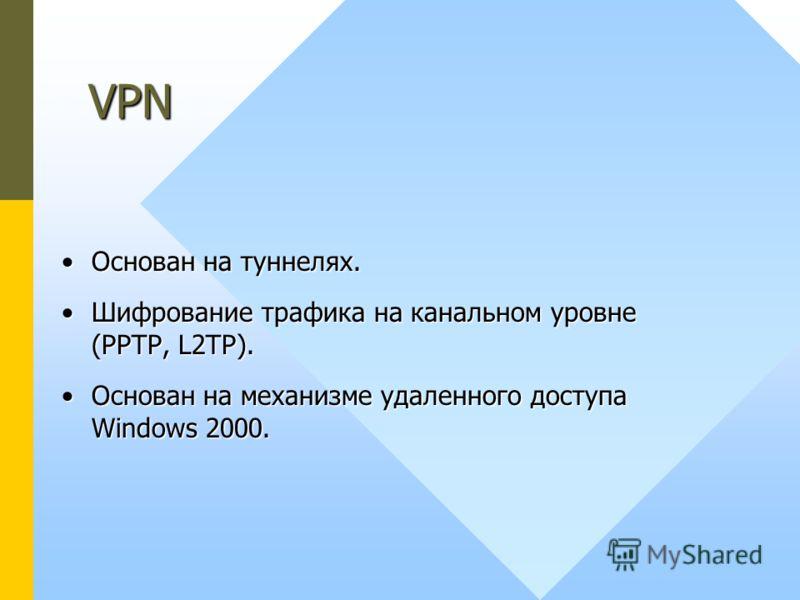 Основан на туннелях.Основан на туннелях. Шифрование трафика на канальном уровне (PPTP, L2TP).Шифрование трафика на канальном уровне (PPTP, L2TP). Основан на механизме удаленного доступа Windows 2000.Основан на механизме удаленного доступа Windows 200