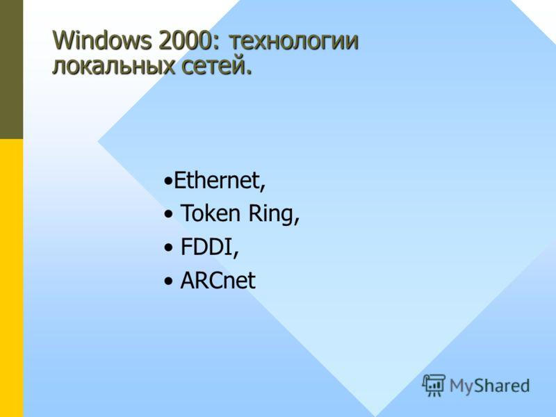 Windows 2000: технологии локальных сетей. Ethernet, Token Ring, FDDI, ARCnet