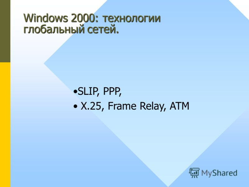 Windows 2000: технологии глобальный сетей. SLIP, PPP, X.25, Frame Relay, ATM