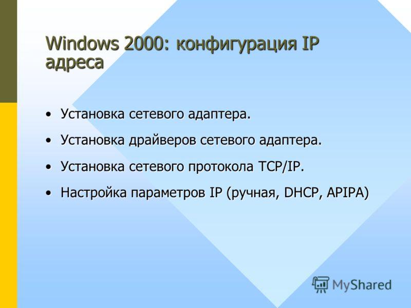 Windows 2000: конфигурация IP адреса Установка сетевого адаптера.Установка сетевого адаптера. Установка драйверов сетевого адаптера.Установка драйверов сетевого адаптера. Установка сетевого протокола TCP/IP.Установка сетевого протокола TCP/IP. Настро