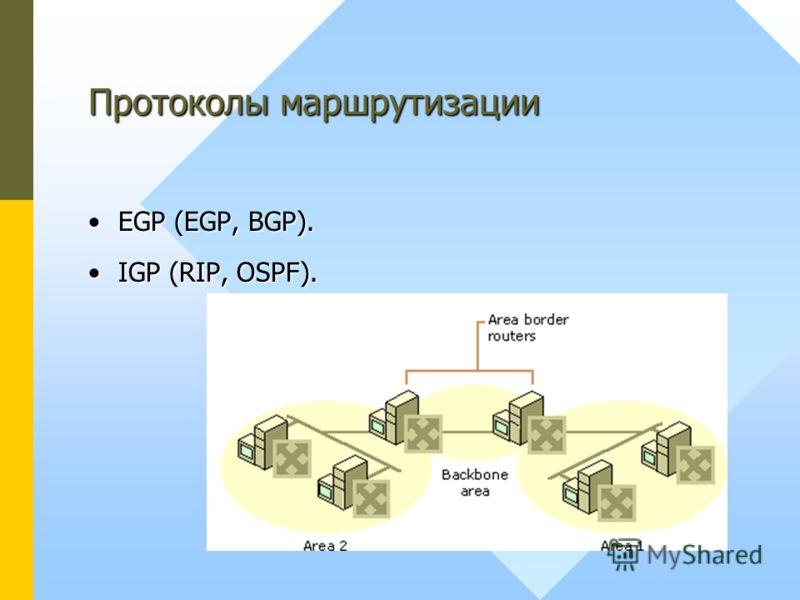 EGP (EGP, BGP).EGP (EGP, BGP). IGP (RIP, OSPF).IGP (RIP, OSPF). Протоколы маршрутизации