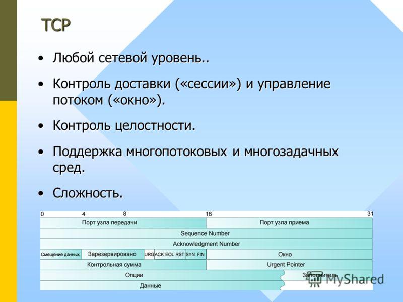 Любой сетевой уровень..Любой сетевой уровень.. Контроль доставки («сессии») и управление потоком («окно»).Контроль доставки («сессии») и управление потоком («окно»). Контроль целостности.Контроль целостности. Поддержка многопотоковых и многозадачных