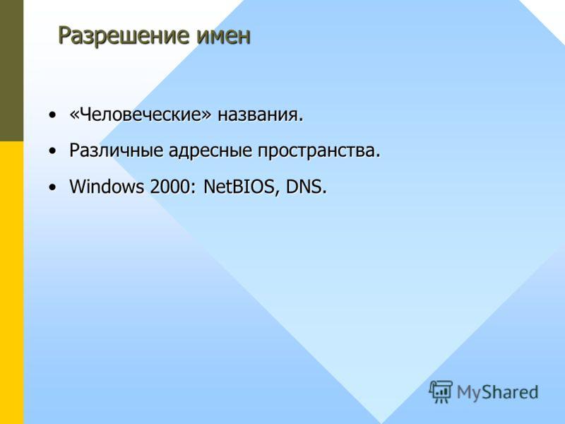 «Человеческие» названия.«Человеческие» названия. Различные адресные пространства.Различные адресные пространства. Windows 2000: NetBIOS, DNS.Windows 2000: NetBIOS, DNS. Разрешение имен