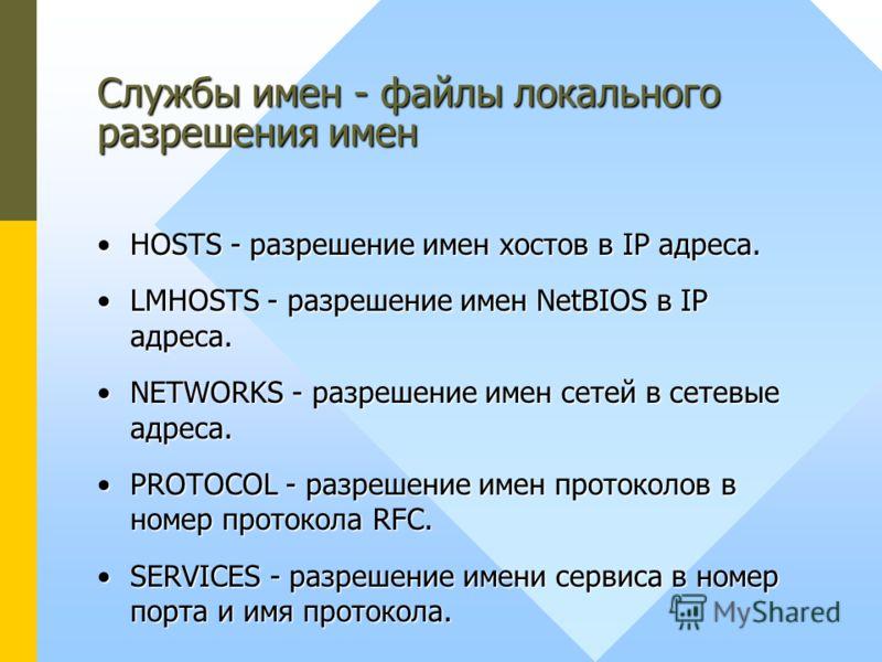 HOSTS - разрешение имен хостов в IP адреса.HOSTS - разрешение имен хостов в IP адреса. LMHOSTS - разрешение имен NetBIOS в IP адреса.LMHOSTS - разрешение имен NetBIOS в IP адреса. NETWORKS - разрешение имен сетей в сетевые адреса.NETWORKS - разрешени